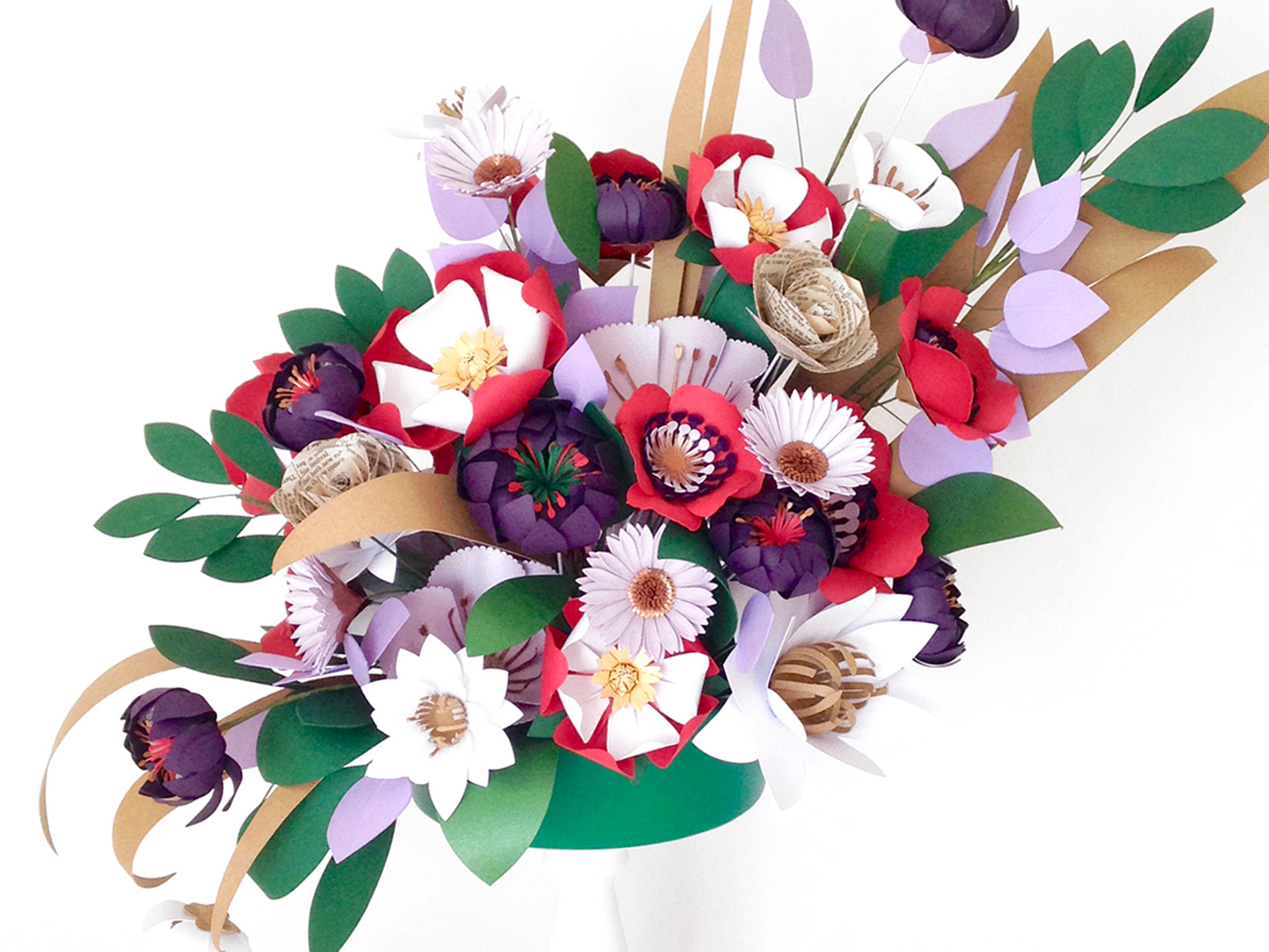 A show piece paper flower arrangement