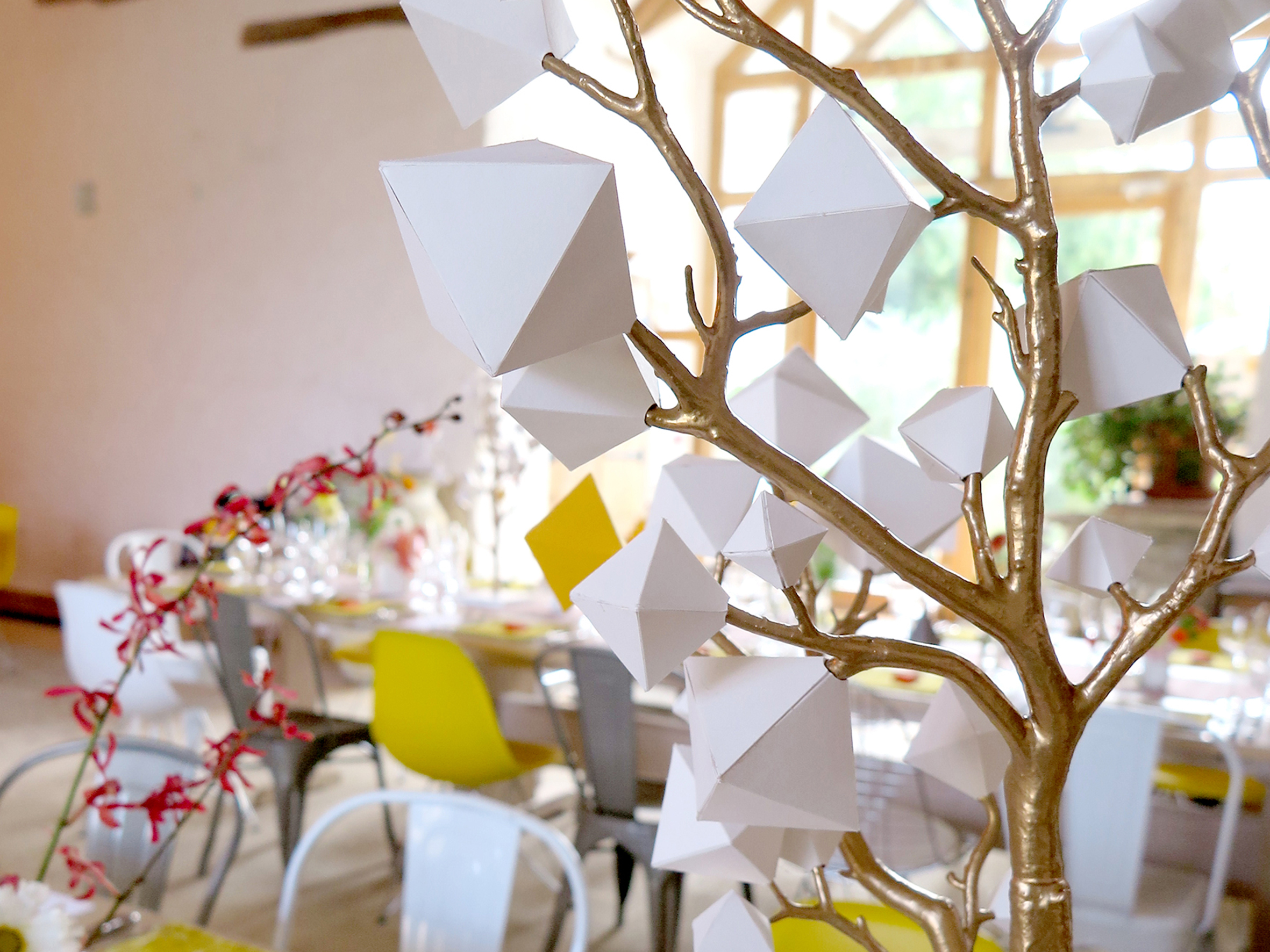 Large hanging installation, geo table trees, favour boxes and table signage holders