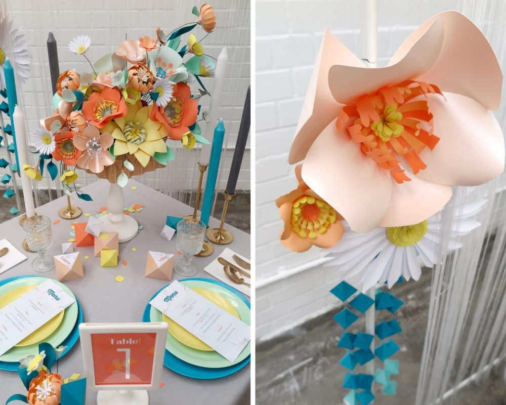 coral-yellow-oange-paper-flower-wedding-table