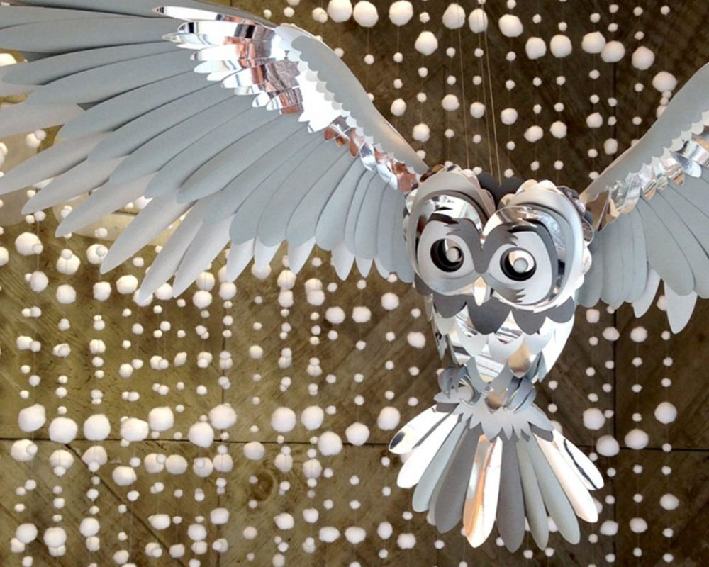 silver-and-grey-paper-owl