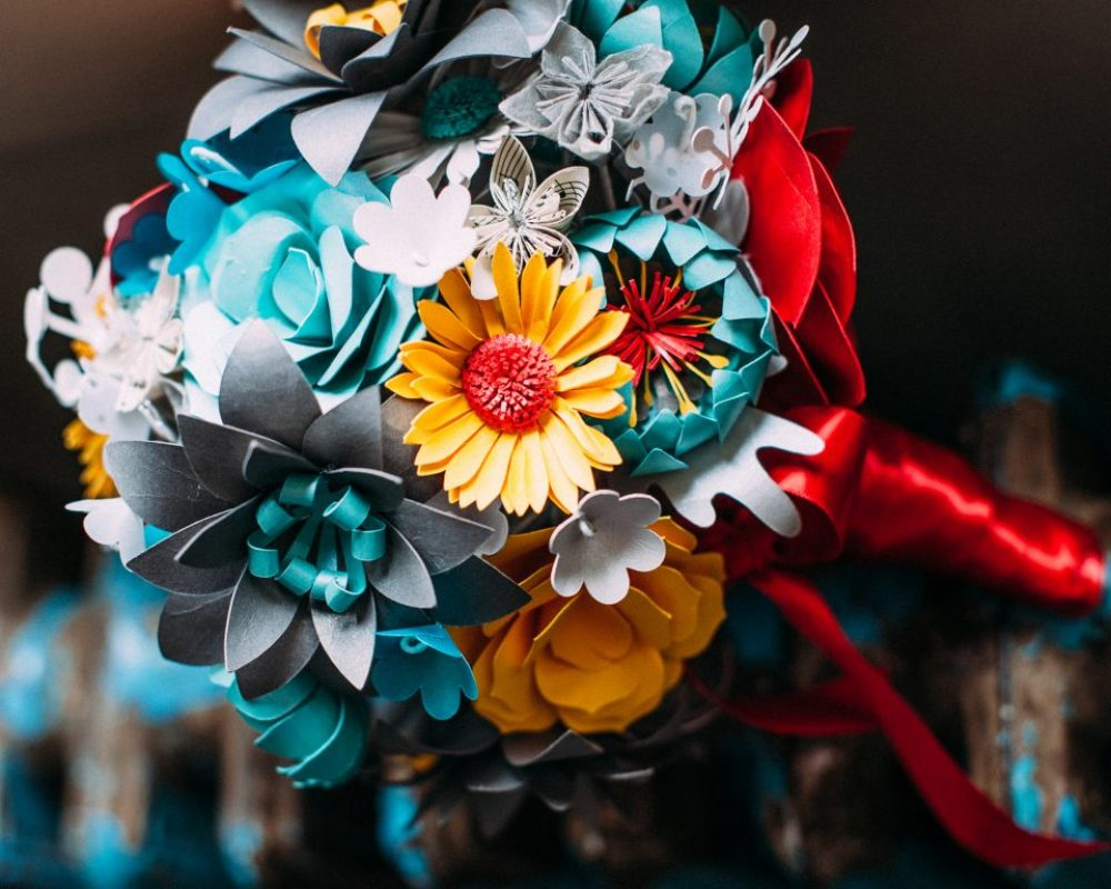 yellow-aqua-grey-paper-flower-bouquet